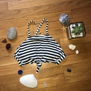 Black and White Striped Bikini Top